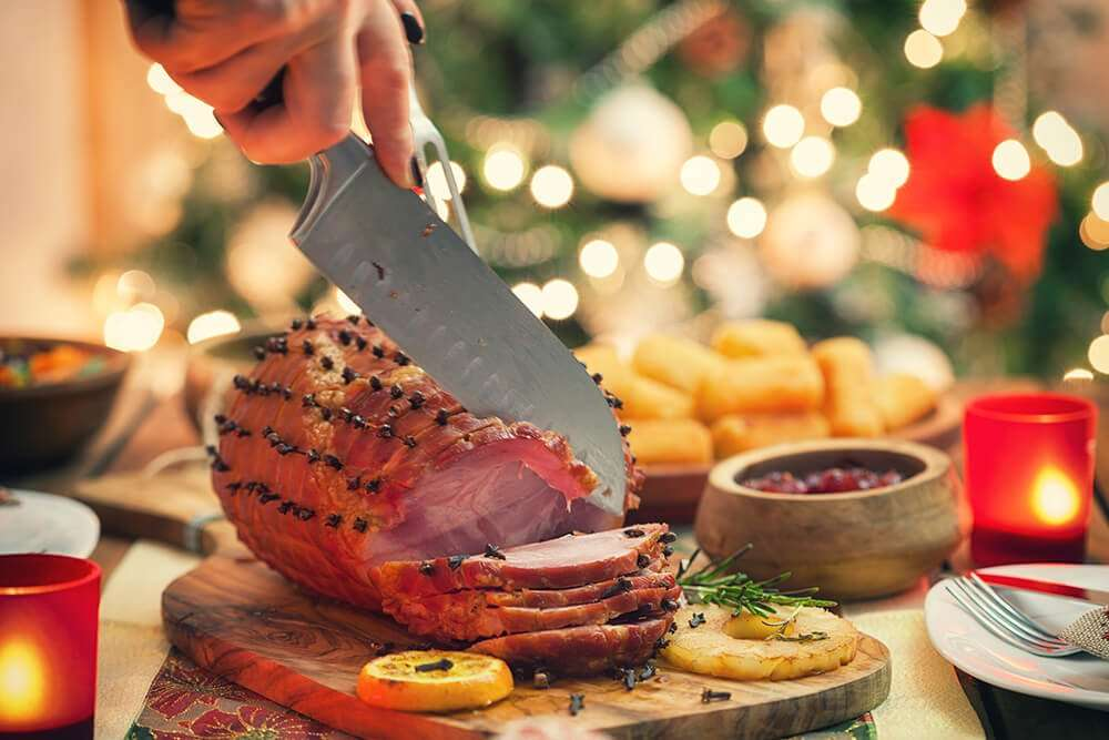 Christmas ham with cloves